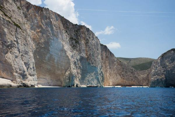 Arrival by boat to Navagio