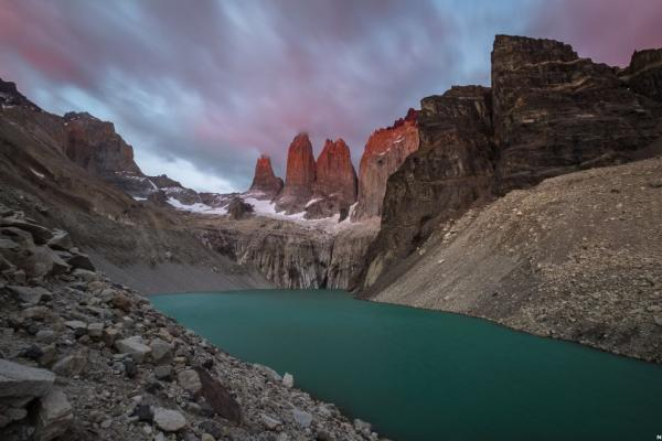 Dawn at the granite towers of Torres del Paine