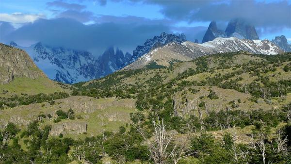 Pohled na Cerro Torre a Fitz Roy