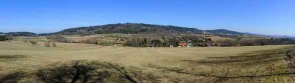 Scenic panorama from the foot of the forest
