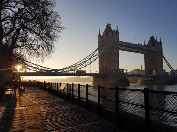 View of Tower Bridge from the other side of the river