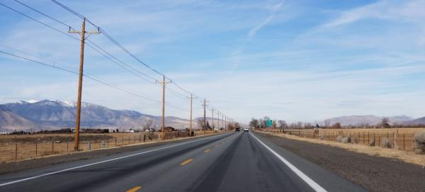 Follow highway 395 around the lakes
