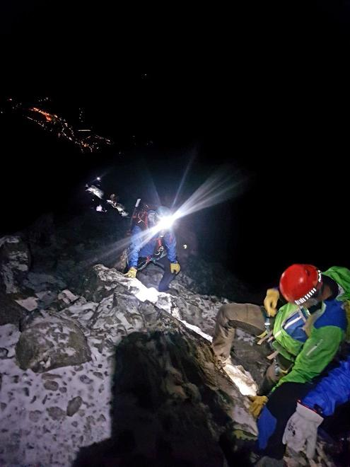 Above the Mischabel hut, below us in the distance, the night Saas-Fee