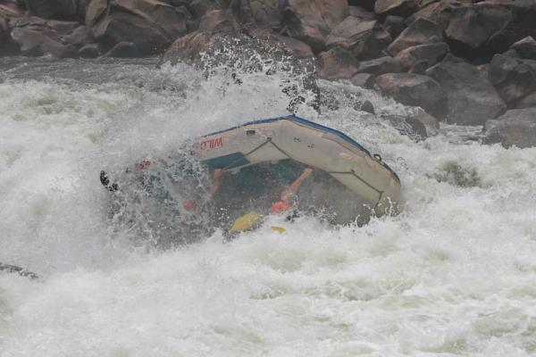 Overturning a raft is really easy on this wild river