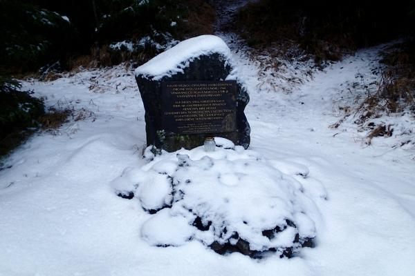 Monument on the transfer trail